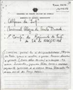 General Comandante da Região Militar de Angola recomenda a passagem à disponilidade do Alferes Manuel Alegre de Melo Duarte